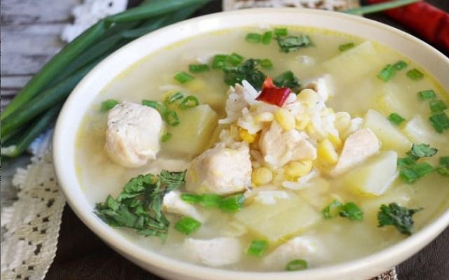 гороховый суп с рисом и курицей