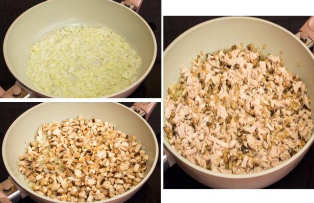 обжарить лук, грибы, курицу