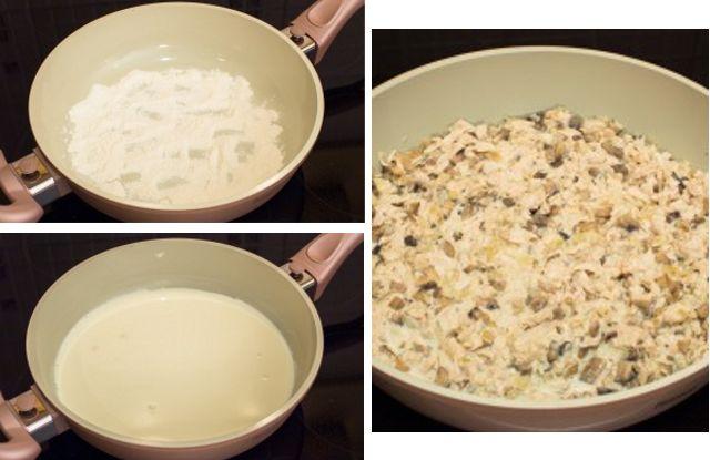 приготовить соус, обжарить с грибами, луком, курицей