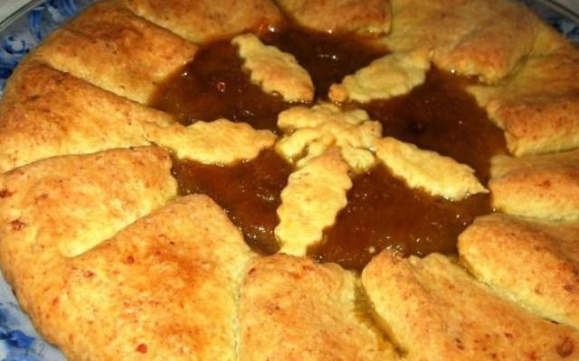 Пирог с ревенем на творожном тесте