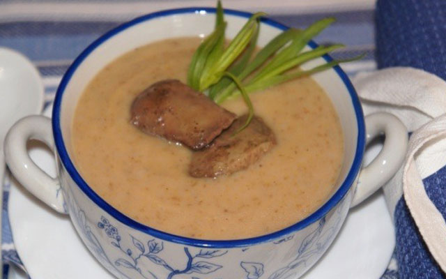 суп-пюре из гречки с печенью