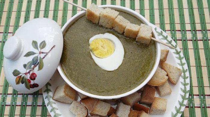 суп пюре из щавеля и шпината