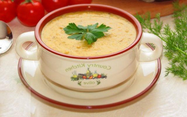 суп-пюре из шампиньонов с чечевицой