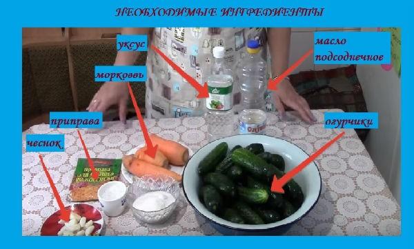ингредиентя для огурчиков по-корейски