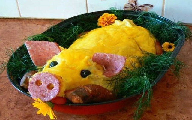 салат свинка