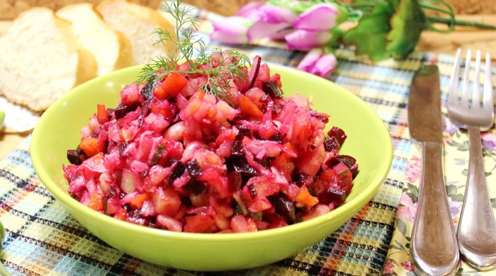 Рецепт приготовления очень вкусного и сытного классического салата винегрет с отварной фасолью